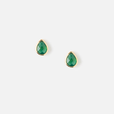 SEMI PRECIOUS TEARDROP STUD EARRINGS - EMERALD