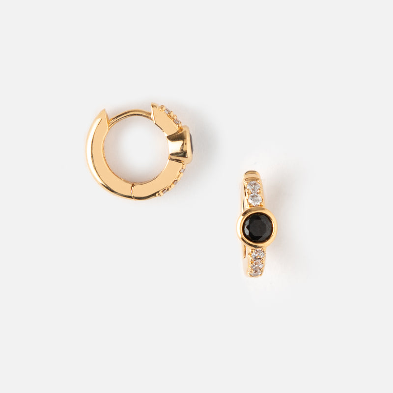 Jet Jewel & Pave Huggie Hoop Earrings