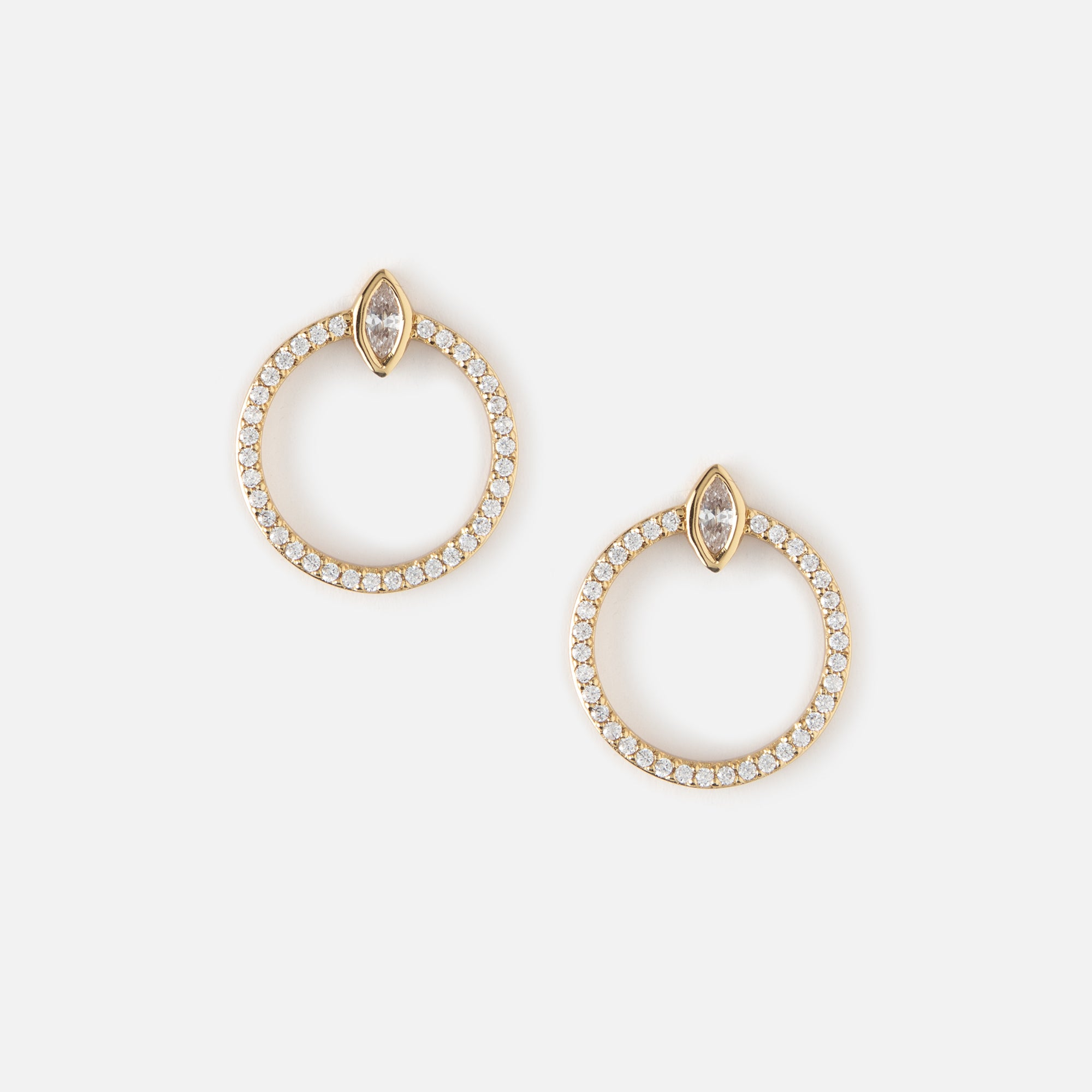 Front Facing Pave Hoop Stud Earrings
