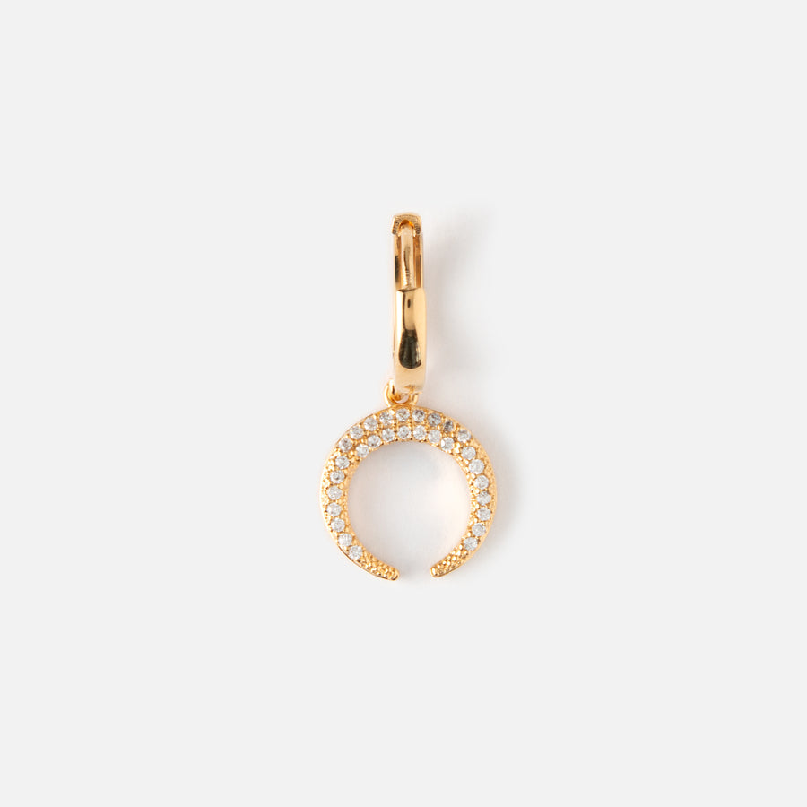 Single Pave Crescent Huggie Hoop