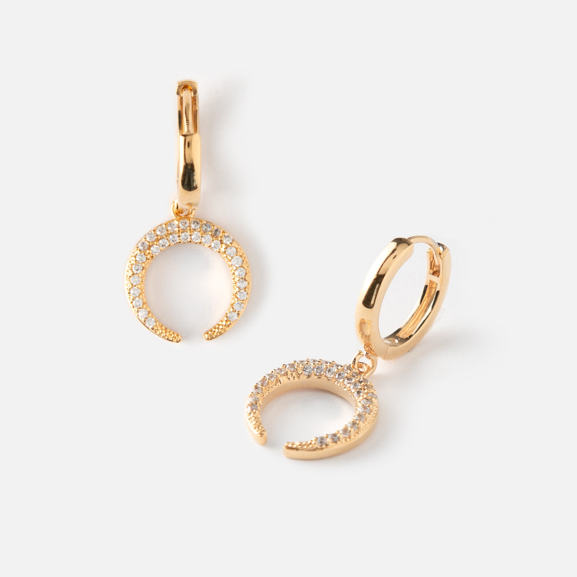 Crystal Crescent Small Hoop Earrings