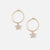 Pave Star Drop Hoop Earrings - Gold