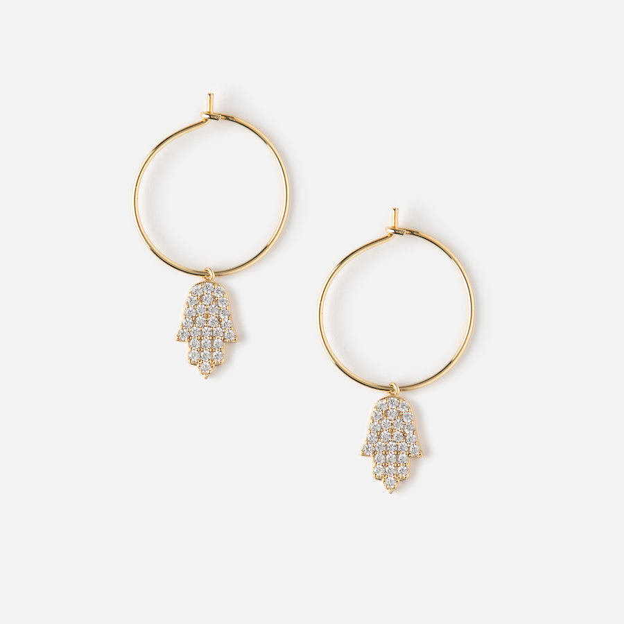 Pave Hamsa Drop Hoop Earrings