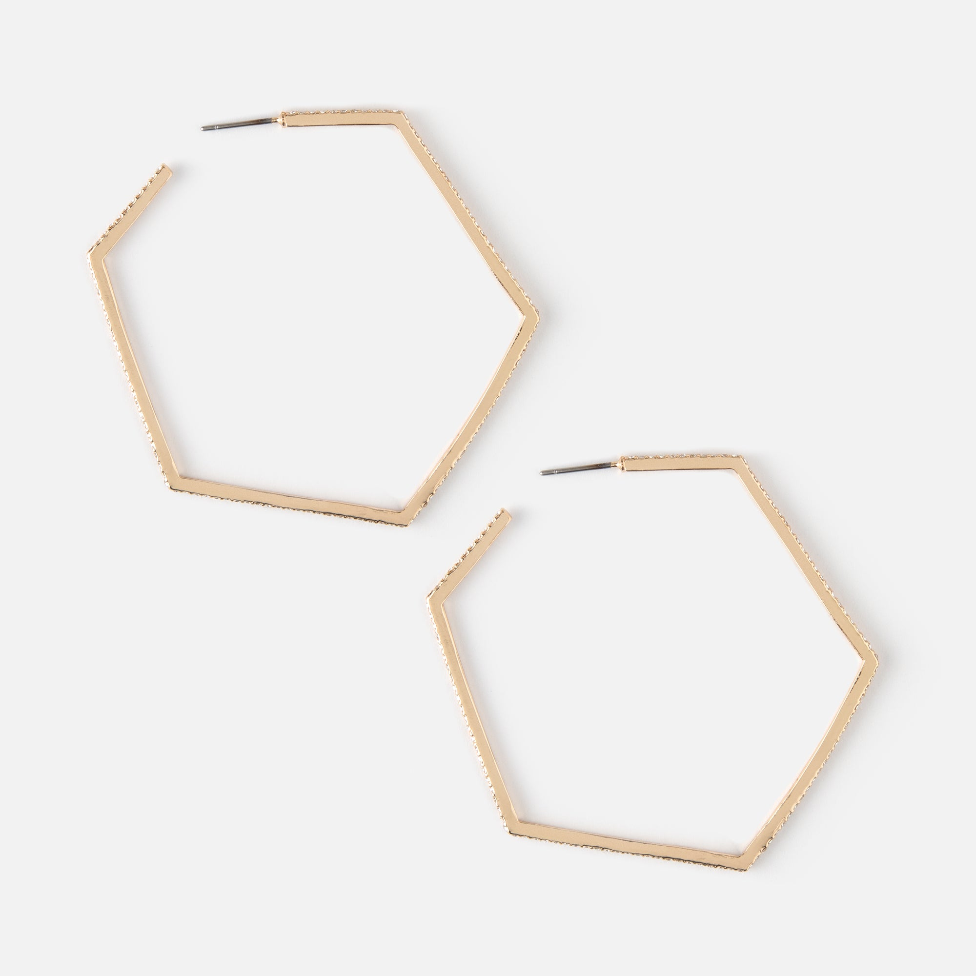 Pave Hexagon Hoop Earrings - GOLD