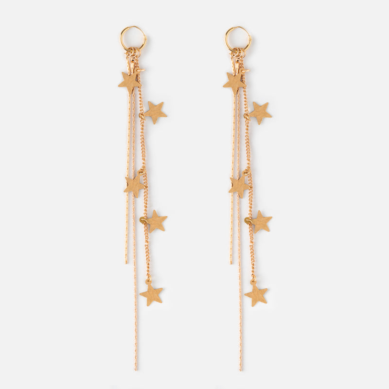 Cascading Star Long Drop Hoop Earrings - Gold