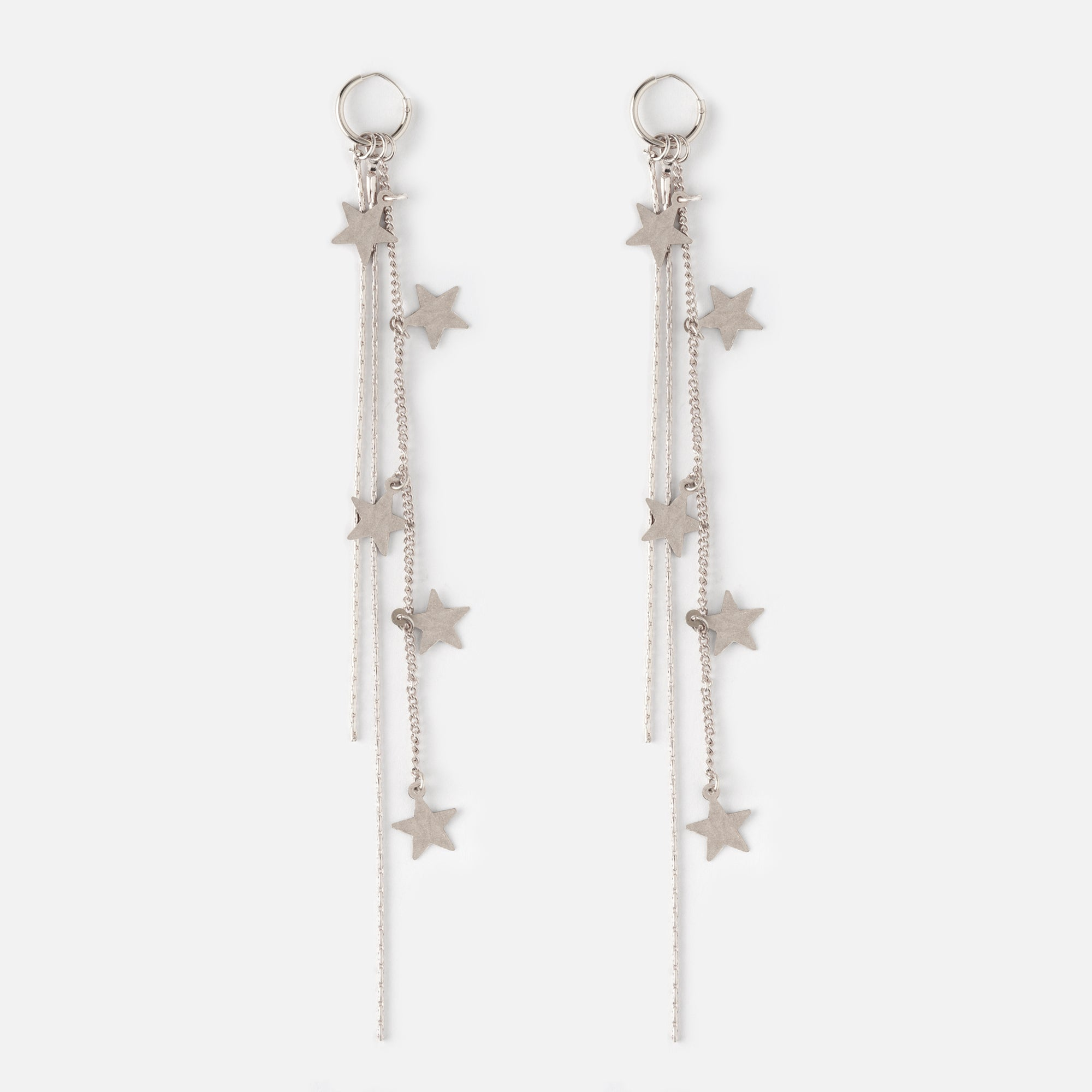 Cascading Star Long Drop Hoop Earrings - Silver