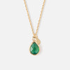 Semi Precious Teardrop Ditsy Necklace - Emerald