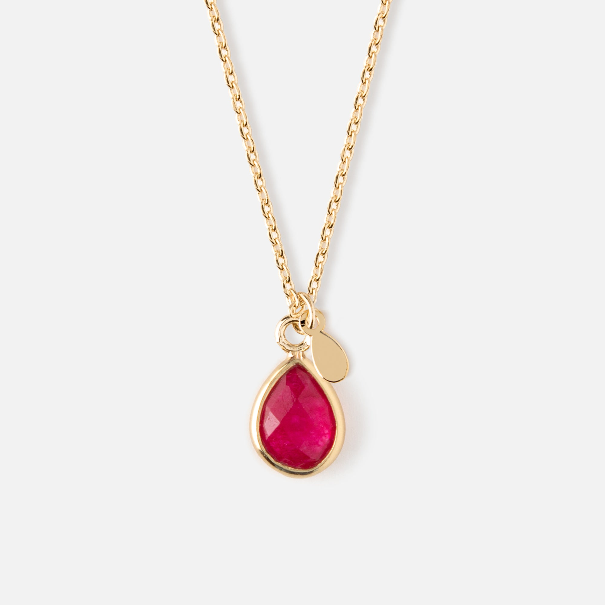 Semi Precious Teardrop Ditsy Necklace - Ruby