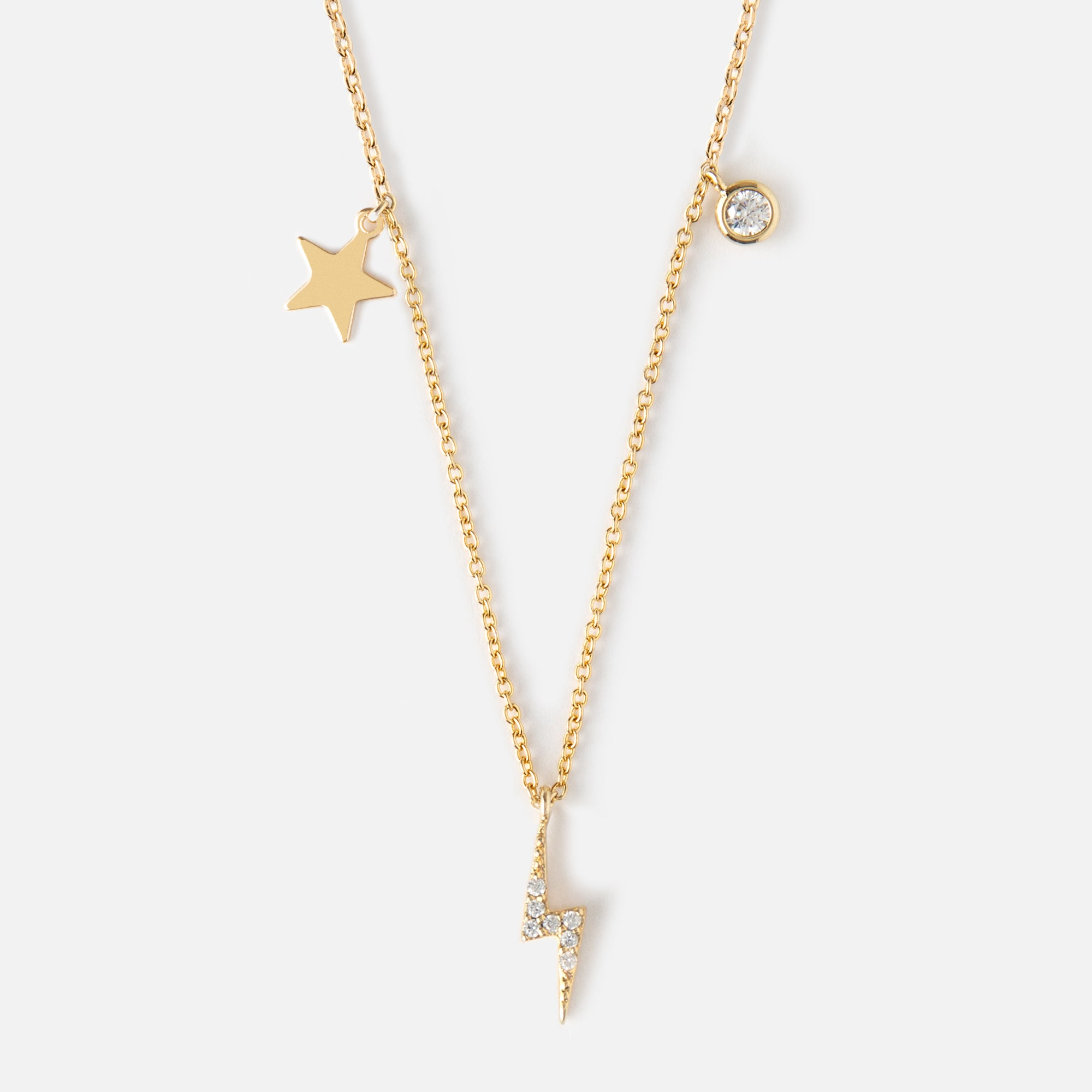 Lightning Bolt & Star Charm Necklace