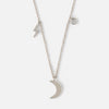 Moon & Lightning Bolt Necklace - Silver