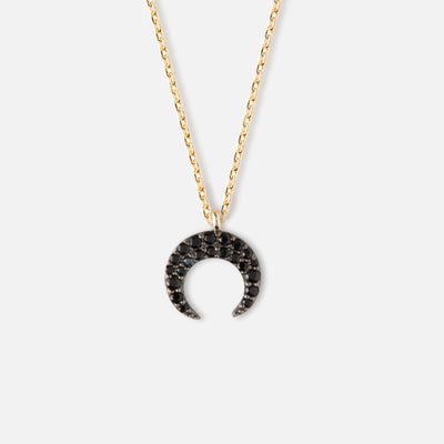Mini Jet Black Crystal Crescent Necklace
