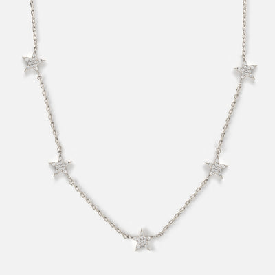 Pave Multi Star Necklace - Silver