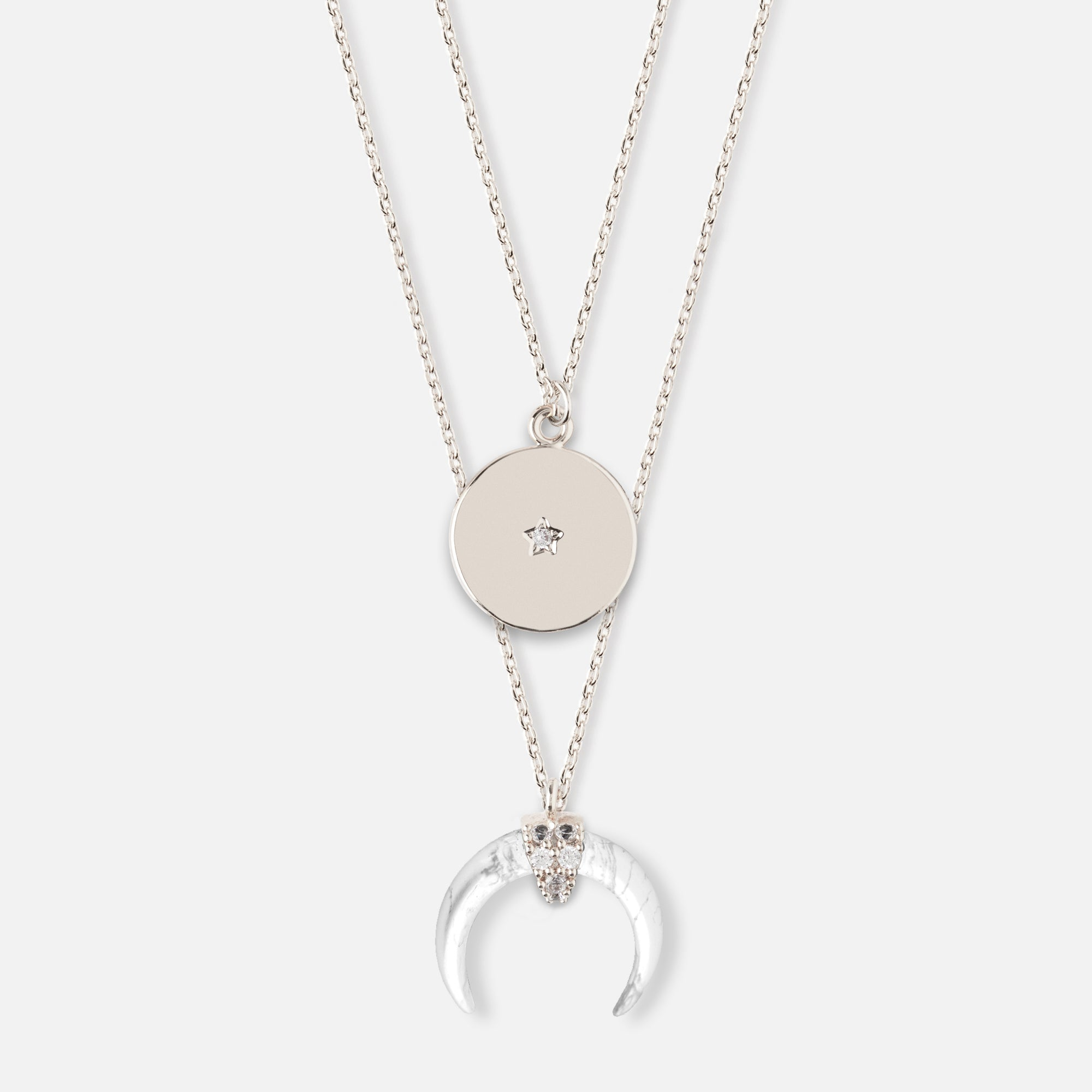 Crescent & Coin Layered Necklace - Silver