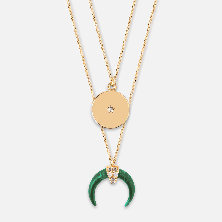 Crescent & Coin Layered Necklace - Malachite Green