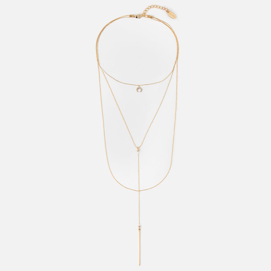 Super Fine Crescent Choker Lariat Necklace - Gold