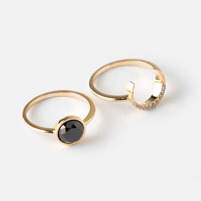 Jet Stone & Crescent Interlocking Ring Pack
