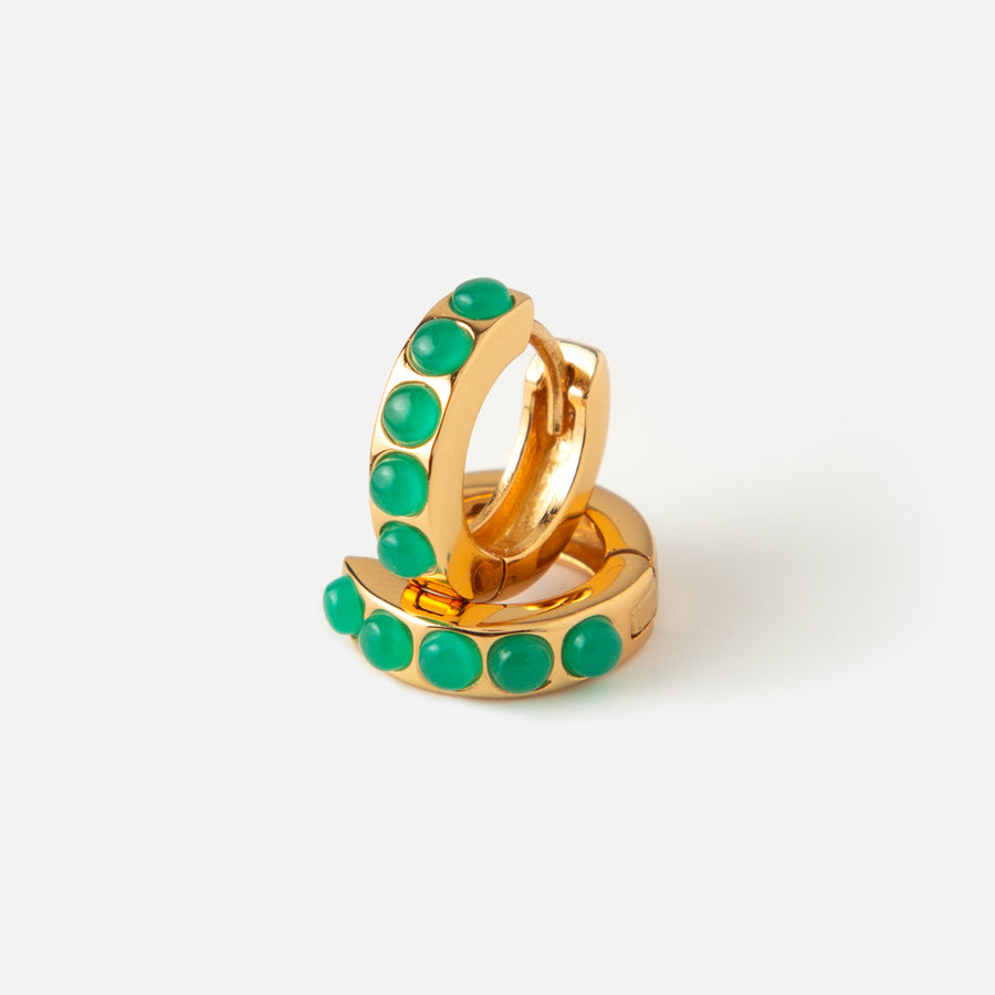 LUXE Green Stone Huggie Hoop Earrings