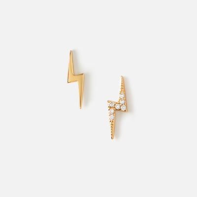 LUXE Mismatched Lightning Bolt Stud Earrings