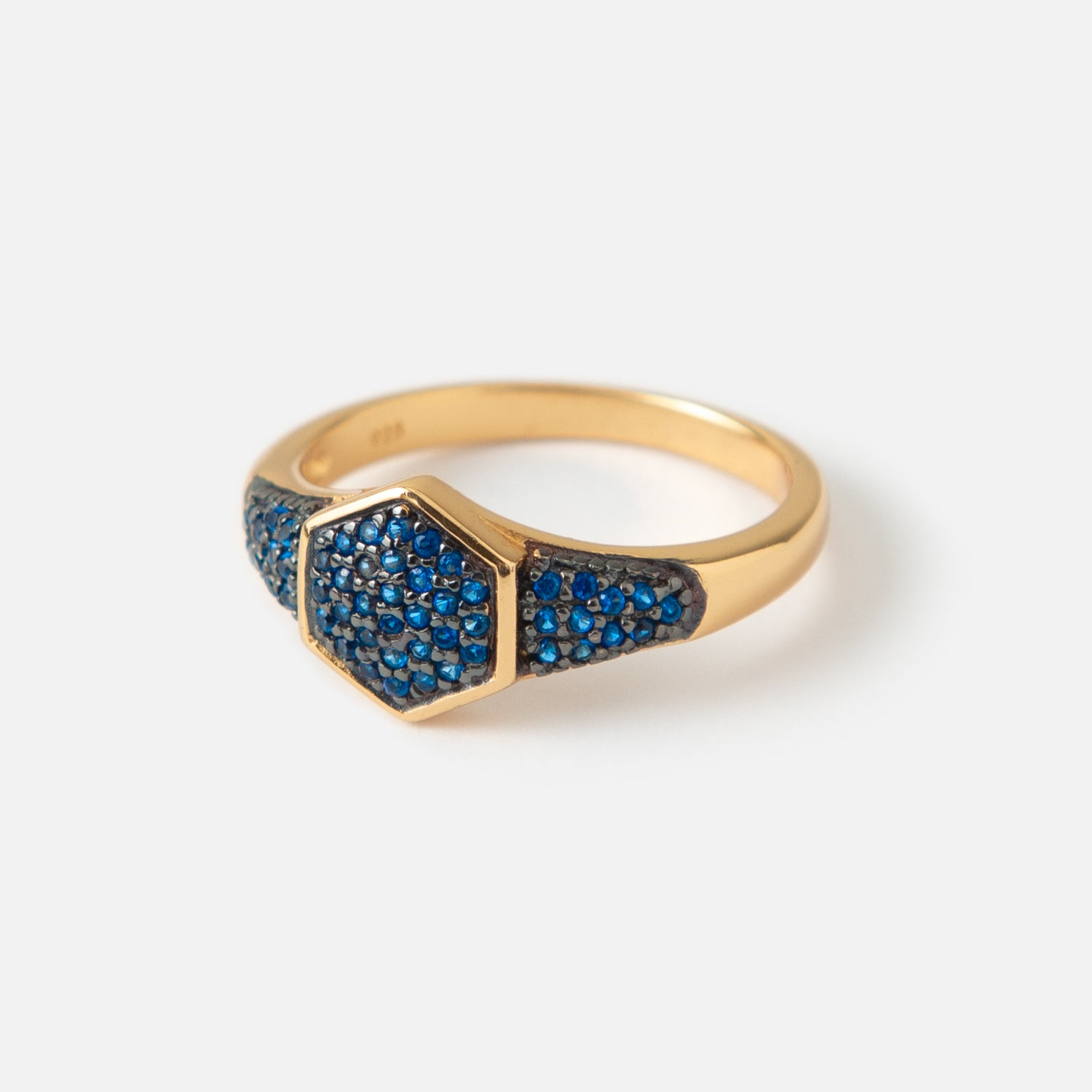 LUXE Hexagon Blue Pave Ring