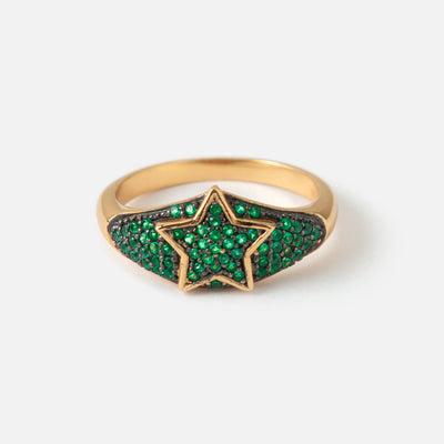 LUXE Star Green Pave Ring