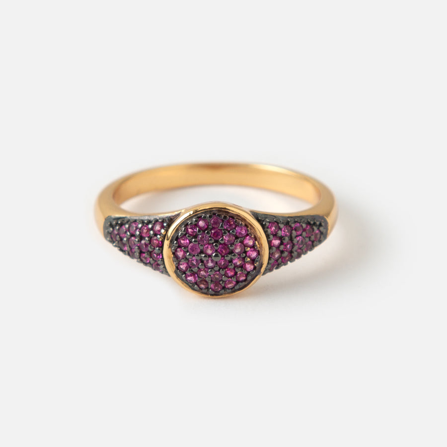 LUXE Disc Deep Fuchsia Pave Ring