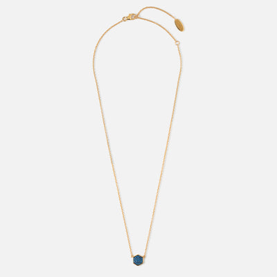 LUXE Hexagon Blue Pave Necklace