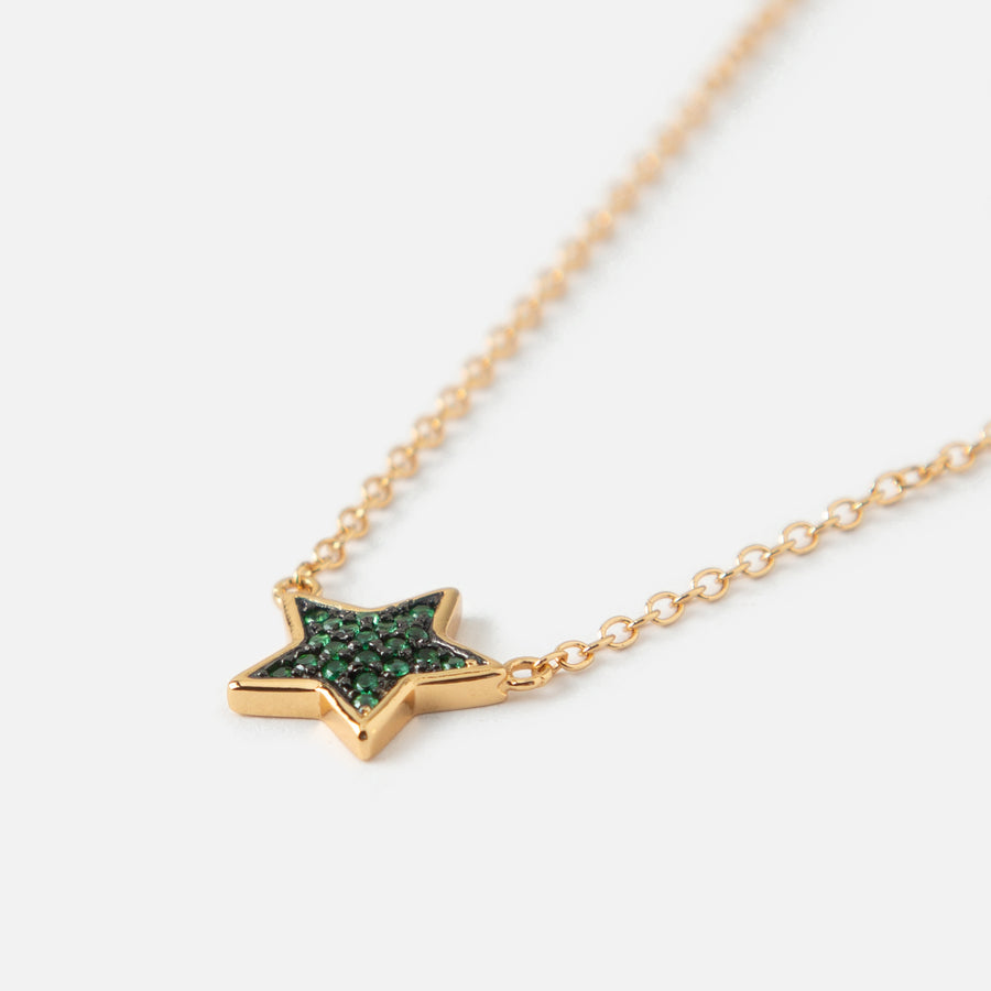 LUXE Star Green Pave Necklace
