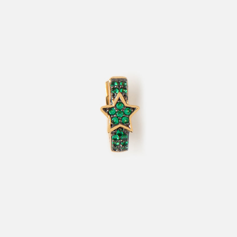 Single LUXE Green Star Huggie Hoop Earring