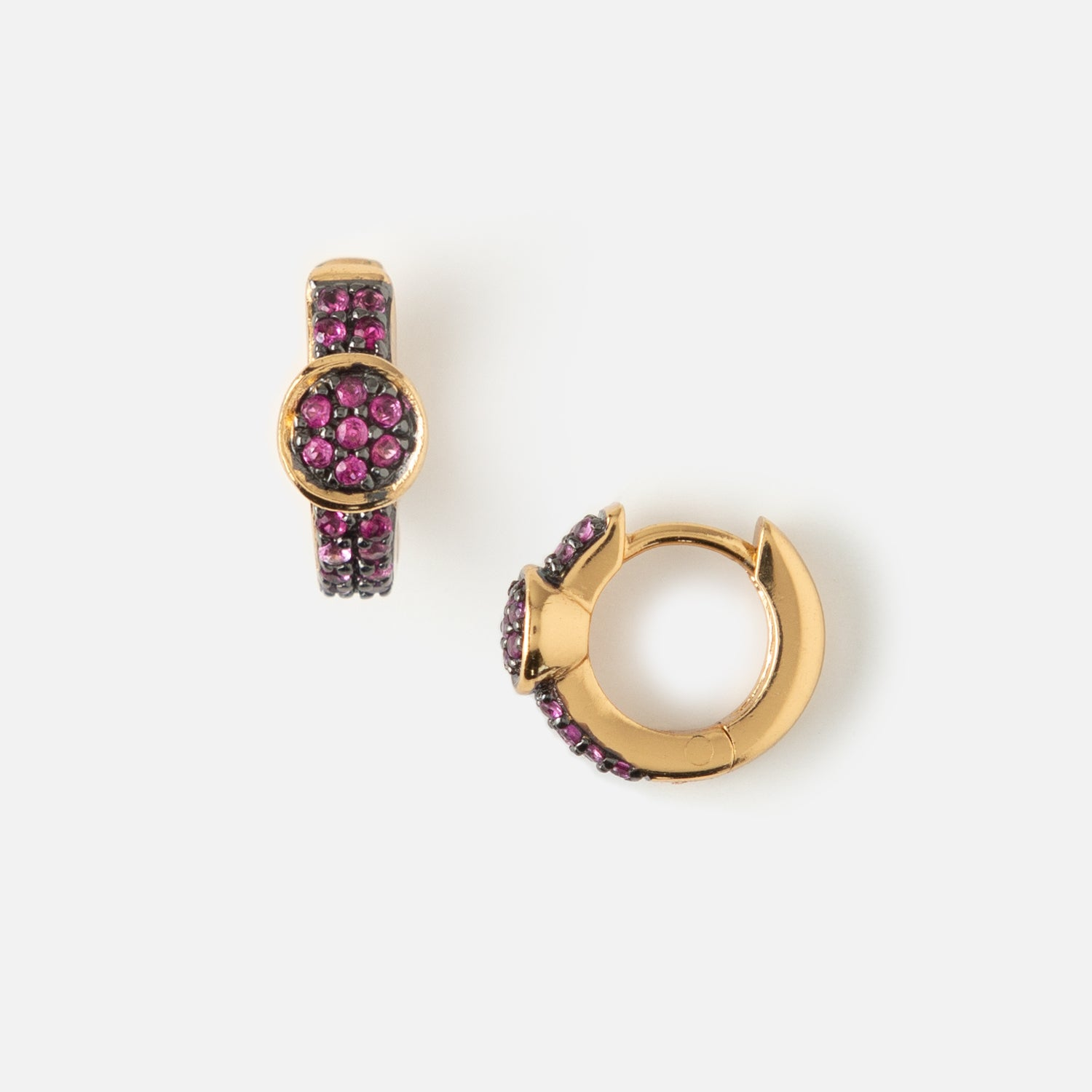 LUXE Disc Deep Fuchsia Huggie Hoop Earrings