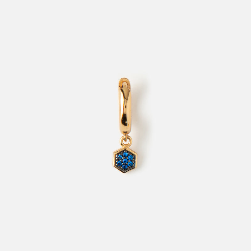 Single LUXE Blue Hexagon Drop Huggie Hoop Earring