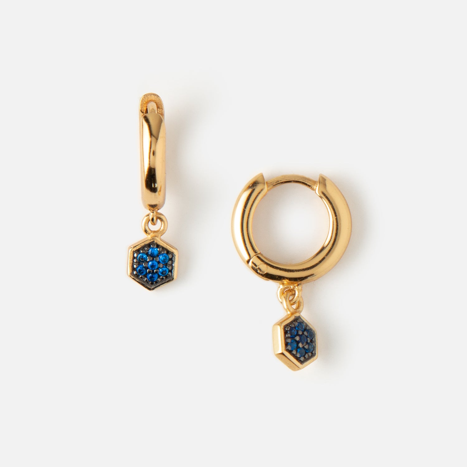 LUXE Blue Hexagon Drop Huggie Hoop Earrings