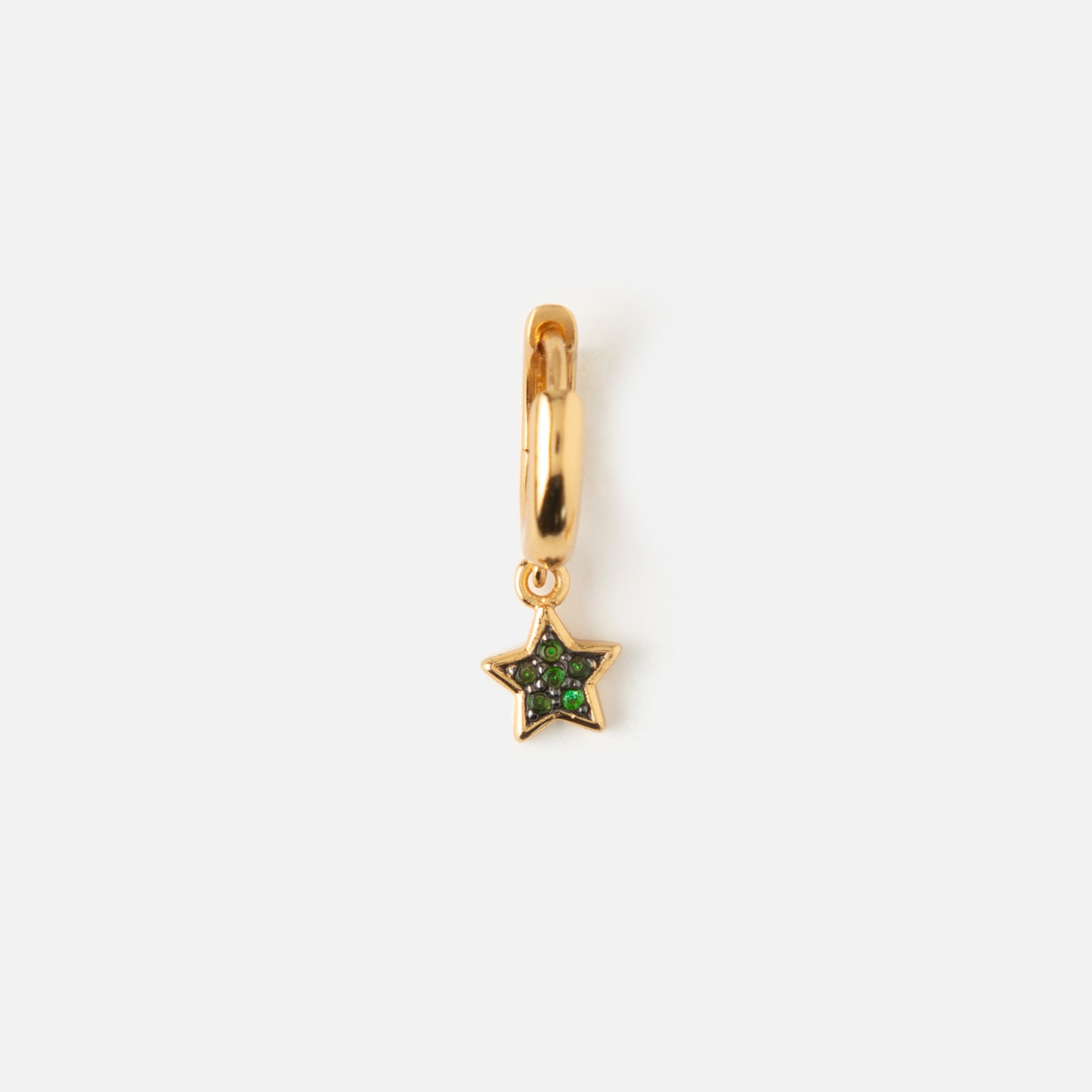 Single LUXE Green Star Drop Huggie Hoop Earring