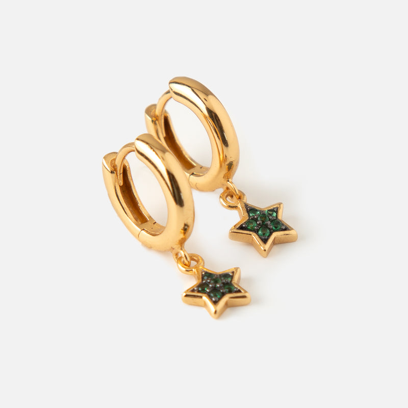 LUXE Green Star Drop Huggie Hoop Earrings