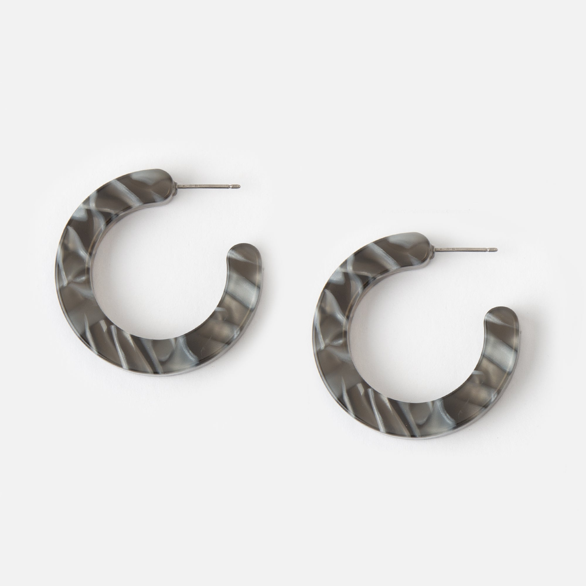 Grey Resin Hoop Earrings