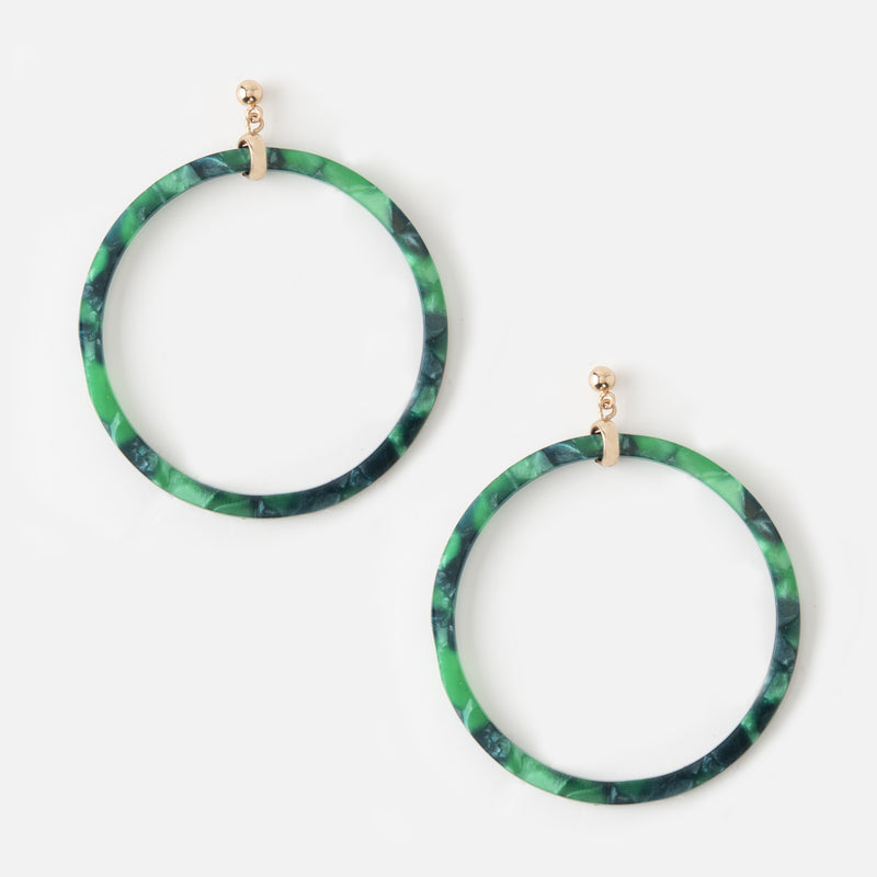 Front Facing Green Tortoise Resin Hoop Earrings