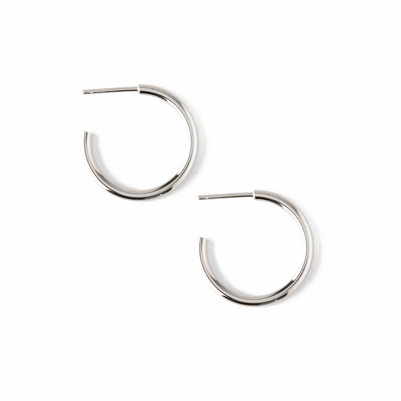 Chunky Mid Size Hoop Earrings - Silver