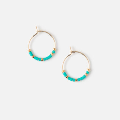 Mini Seedbead Turquoise Hoop Earrings