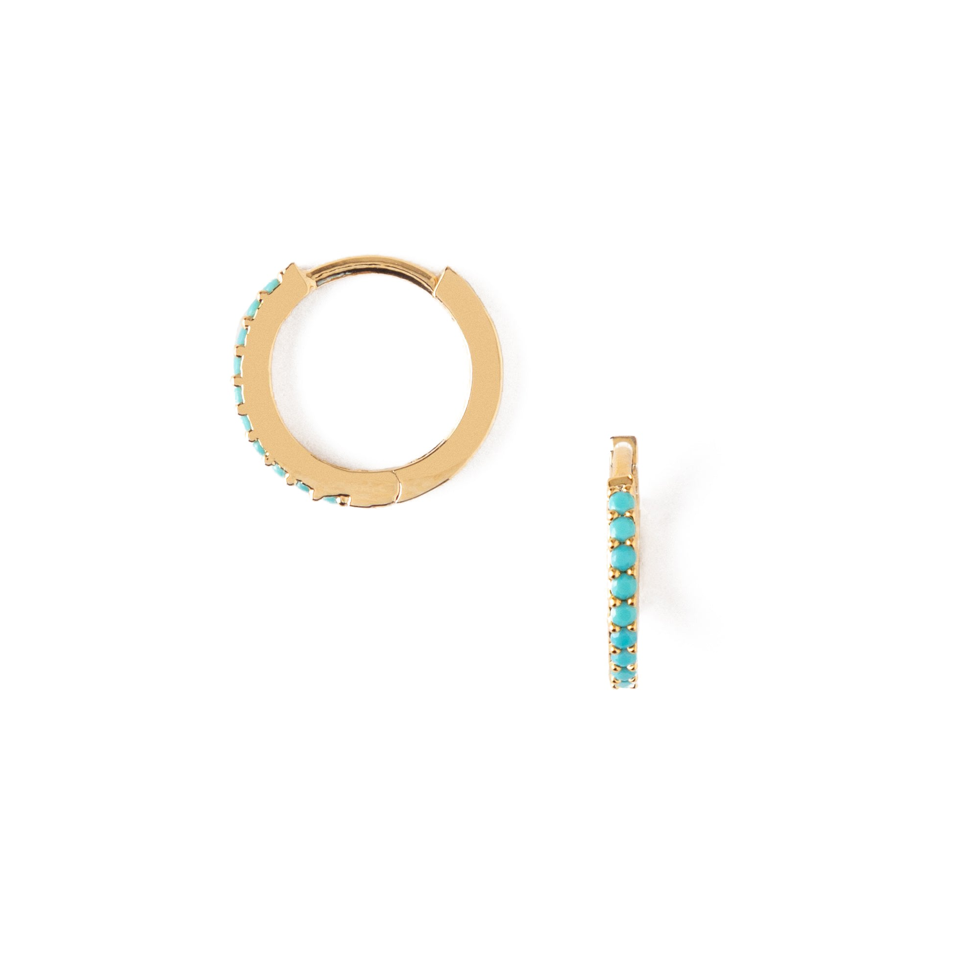 Mini Turquoise Pave Huggie Hoop Earrings