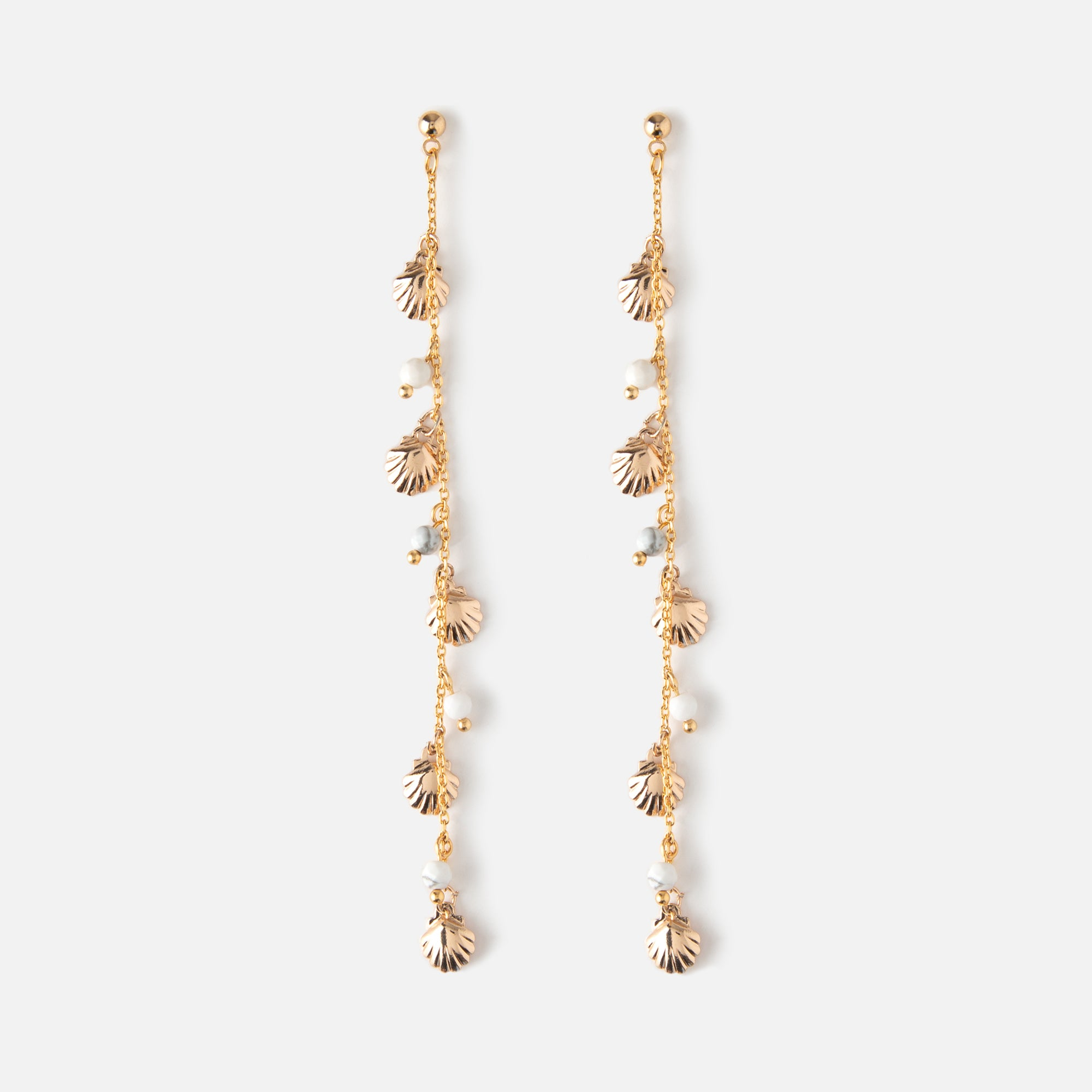 Shell & Bead Chain Drop Earrings