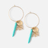 Sea Shell Charm Cluster Hoop Earrings
