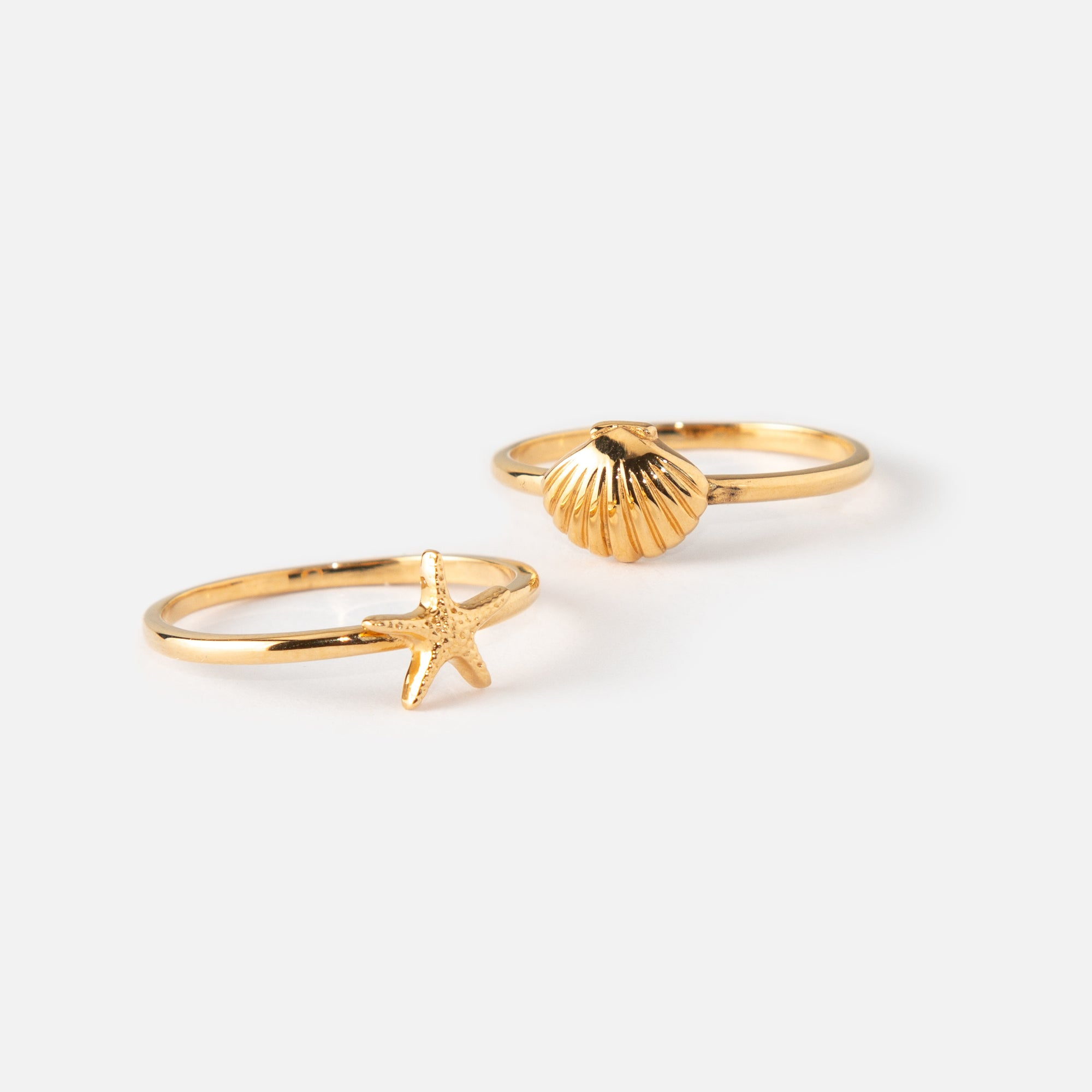 Shell & Starfish Ring 2 Pack