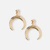 Crescent Drop Stud Earrings - Gold