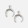 Crescent Drop Stud Earrings - Silver