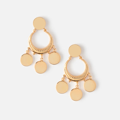 Crescent Disc Mini Chandelier Earrings