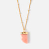 Faceted Stone Tusk Necklace - Coral