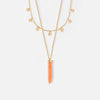 Mini Coin & Coral Spike 2 Row Necklace