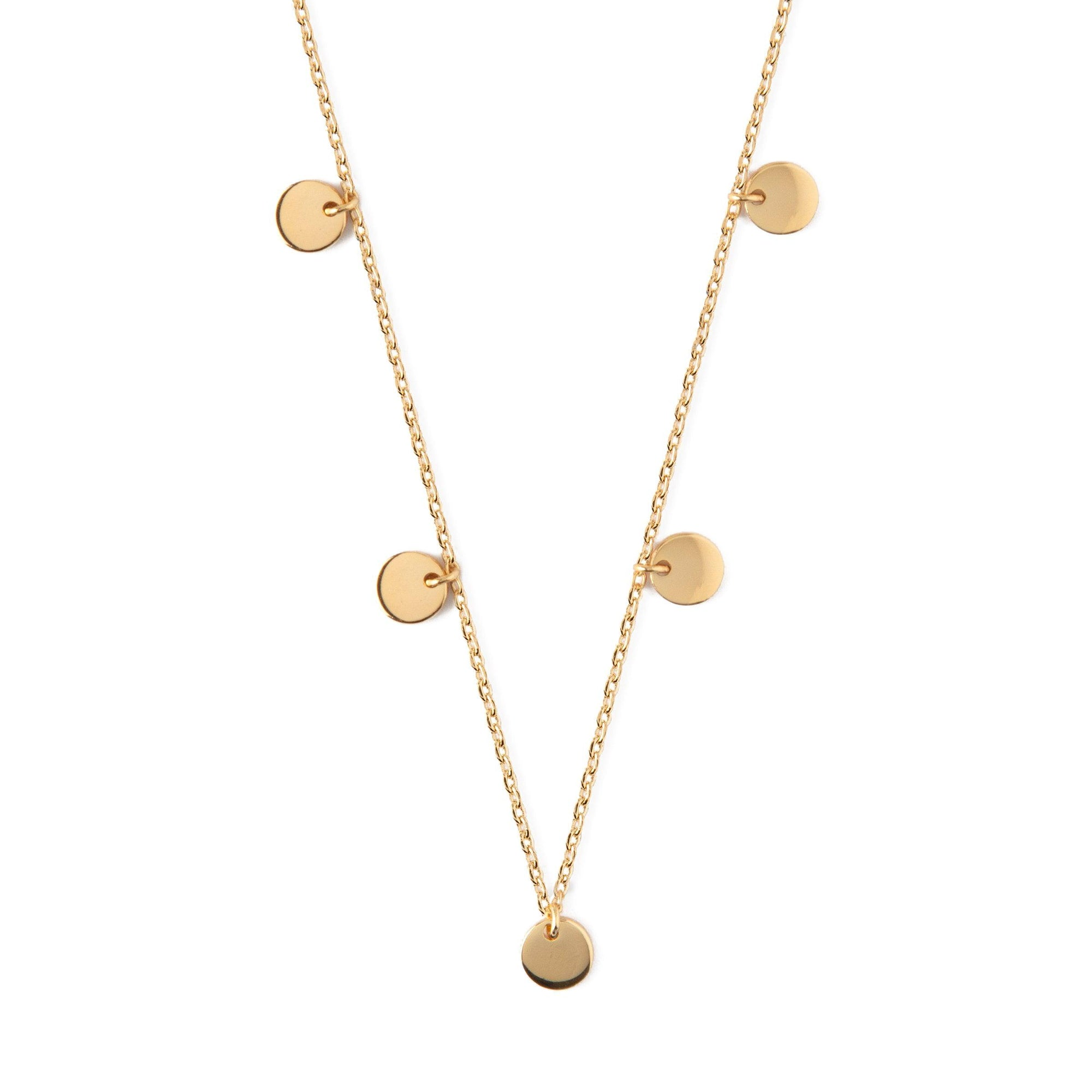 Multi Disc Drop Necklace - Gold