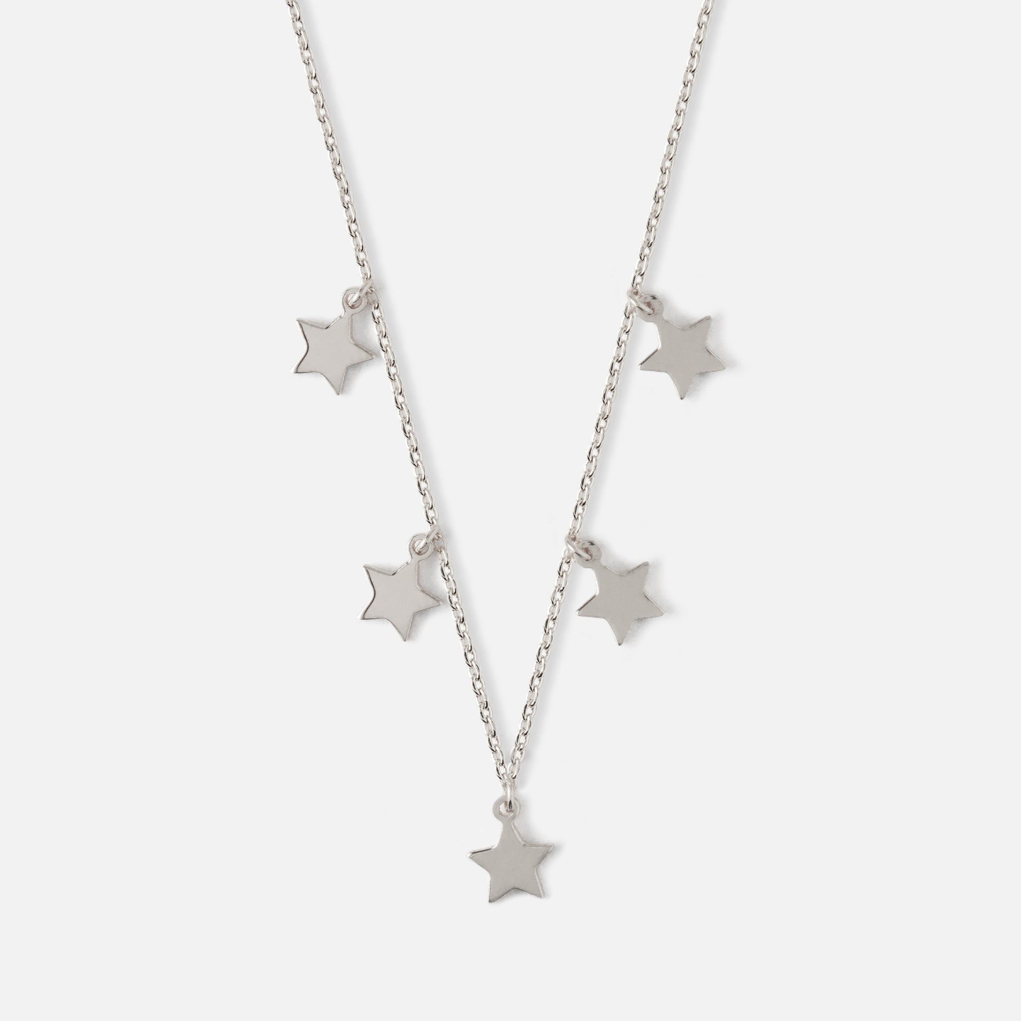 Five Stars Silver Necklace