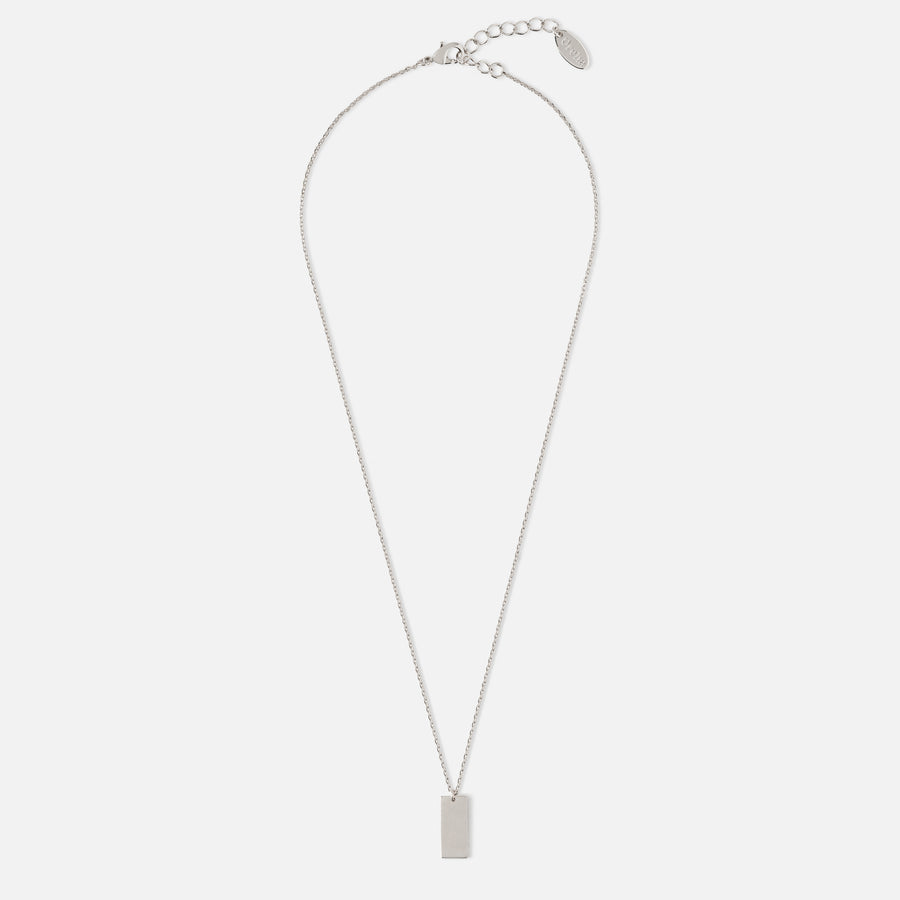Clean Tag Charm Necklace - Silver