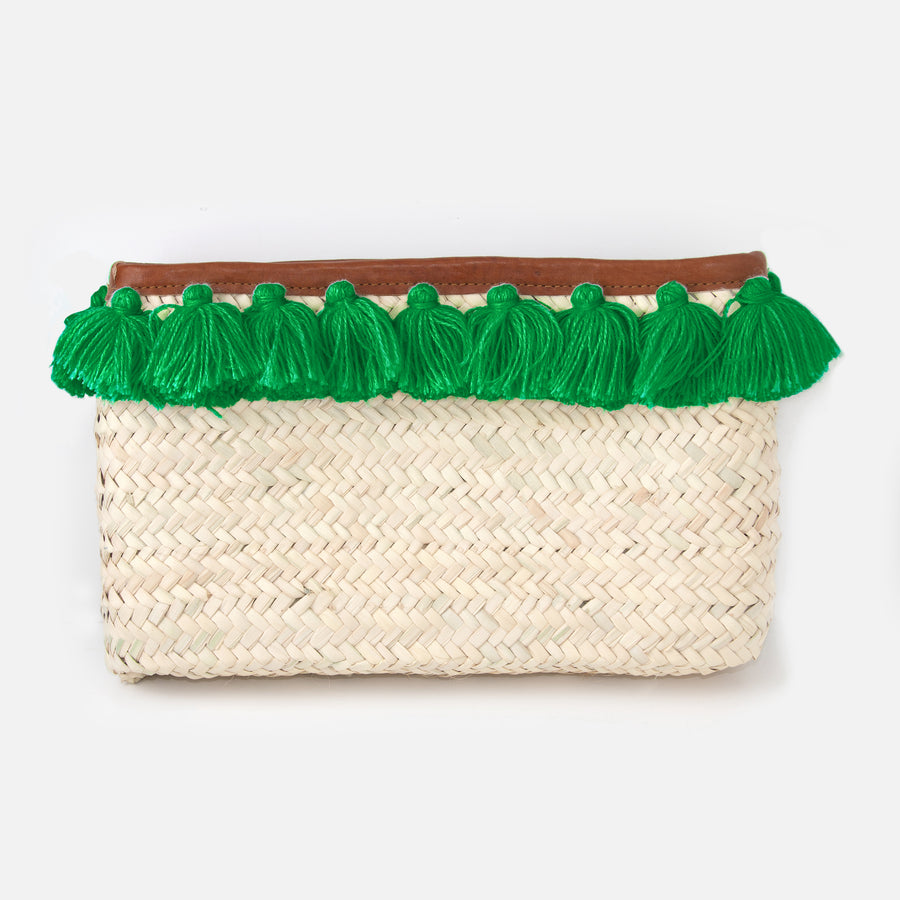 Tassel Straw Clutch Bag - Emerald